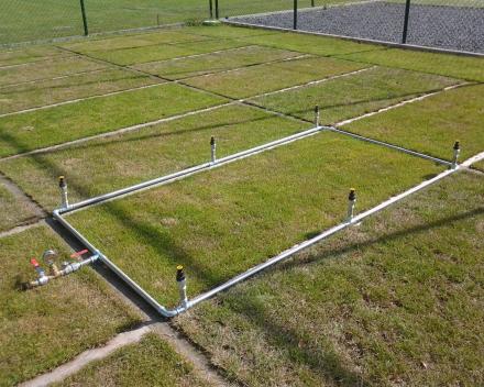 Ganda Criteria - proefvelden ETS Field Days Belgium: regenvalsimulatie ter bepaling van de waterretentiecapaciteit.